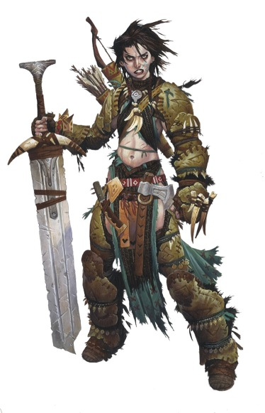 A female barbarian character, holding a large sword, wearing hide armour that exposes her stomach.
