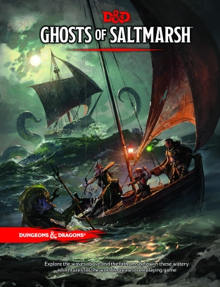 Cover art for the Ghosts of Saltmarsh book for Dungeons and Dragons, featuring an adventuring party on a boat fighting a Sahuagin, while a kraken attacks a ship in the background.