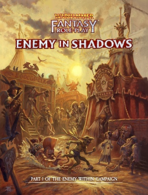 Cover art from Enemy in the Shadows, Part 1 of the Enemy Within Campaign, featuring a goblin being chased through a carnival.