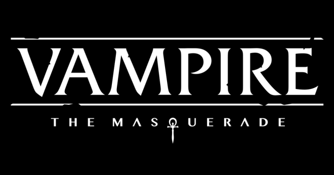 "Logo design saying ""Vampire: The Masquerade"" where the Q is a blade-like ankh."